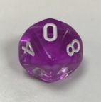 10 Sided Translucent Purple White d10 Dice - DiceEmporium.com