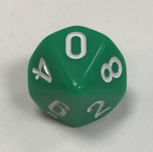 10 Sided Opaque Green White d10 Dice - DiceEmporium.com