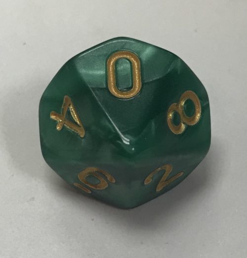 d10 10 Sided Pearl Green Gold Dice - DiceEmporium.com