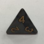 d4 4 Sided Pearl Black Gold Dice - DiceEmporium.com