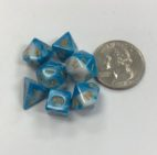 10mm Blue White Gold Set of 7 TI Dice - DiceEmporium.com