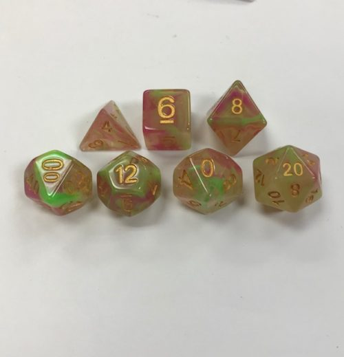 Rose-Red-Yellow-Green-Pearl-Swirl-Set-of-7-Dice-HD