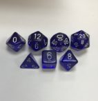 Translucent-Blue-White-Chessex-7-Die-Set