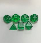 Translucent-Green-White-Chessex-7-Die-Set