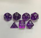 Translucent-Purple-White-Chessex-7-Die-Set