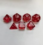Translucent-Red-White-Chessex-7-Die-Set