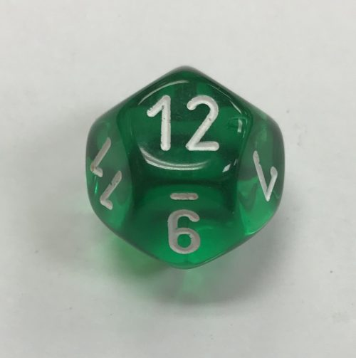 12-sided-clear-green-white-chessex