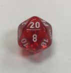 20 Sided Clear Red White Chessex Dice - DiceEmporium.com