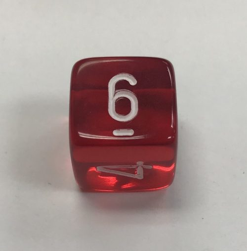 6 Sided Clear Red White Chessex Dice - DiceEmporium.com