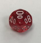 10 Sided Percent Clear Red White Chessex Dice - DiceEmporium.com