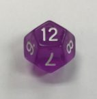 d12 Clear Purple White HD Dice - DiceEmporium.com