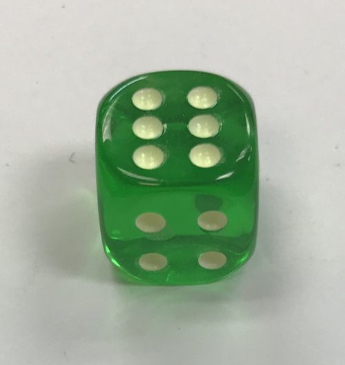 Green 16mm Glow Spots Koplow Dice - DiceEmporium.com