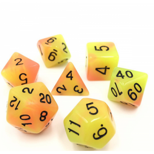 Yellow Orange Blend Glow Dice Set - DiceEmporium.com