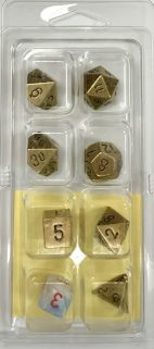 Metal Old Brass 7 Die Set - DiceEmporium.com