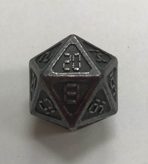 Ancient Nickel Metal d20 Dice - DiceEmporium.com