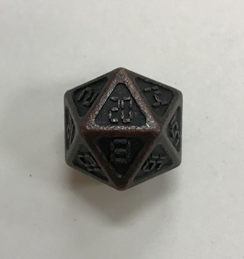 Ancient Copper Metal d20 Dice - 20 Sided - DiceEmporium.com