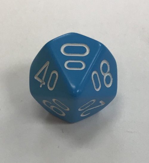 Light Blue White Percentage Die Chessex Dice - DiceEmporium.com