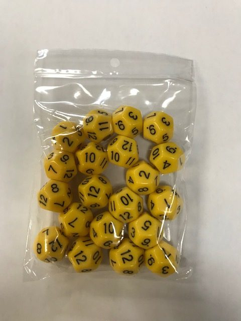 Yellow Opaque d12 HD Set of 20 Dice - 12 Sided - DiceEmporium.com