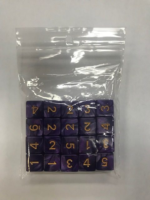 Purple Gold Pearl d6 HD Set of 20 Dice - 6 Sided - DiceEmporium.com
