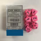 Vortex Snow Pink/black 7 Die Set - DiceEmporium.com