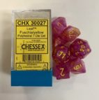 Leaf Fuschia/yellow 7 Die Set - DiceEmporium.com