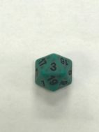Green Ancient 20 Sided Dice - DiceEmporium.com