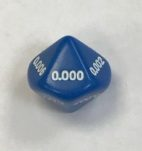 Blue Thousandths 16mm 10 Sided Decimal Dice - DiceEmporium.com