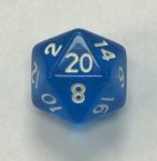 20 Sided Blue Transparent Top Imprint Dice - DiceEmporium.com