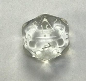 20 Sided Clear Transparent Top Imprint Dice - DiceEmporium.com