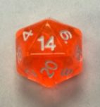 20 Sided Orange Transparent Top Imprint Dice - DiceEmporium.com