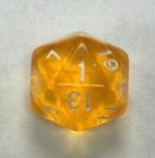 20 Sided Yellow Transparent Top Imprint Dice - DiceEmporium.com