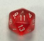 20 Sided Red Transparent Top Imprint Dice - DiceEmporium.com