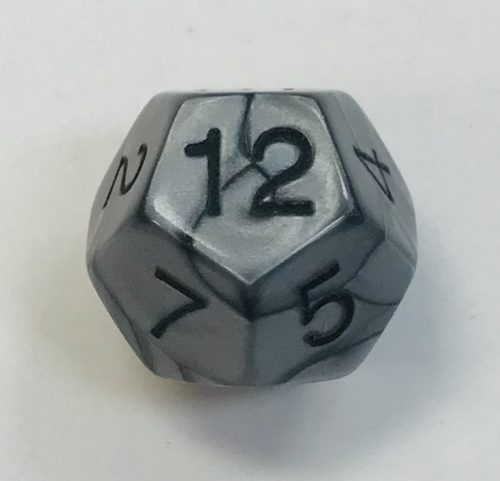 12 Sided Olympic Silver Dice - DiceEmporium.com