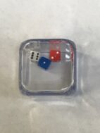 Red White and Blue Dice in Cube - DiceEmporium.com