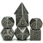 Barrel Silver Ancient Dragon Font 7 die set - DiceEmporium.com