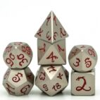 Pearl Nickel Red Dragon Font 7 die set - DiceEmporium.com