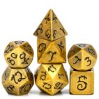 Plated Golden Ancient Dragon Font 7 die set - DiceEmporium.com