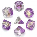 Purple Conch Silver Font Dice - DiceEmporium.com