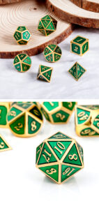 Green and Gold 7 Piece Metal & Enamel Dice Set - DiceEmporium.com