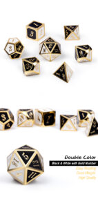 Chess 7 Piece Metal & Enamel Dice Set - DiceEmporium.com
