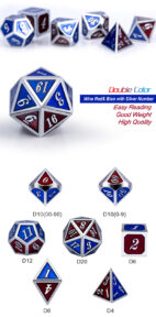 Burgundy and Blue 7 Piece Metal & Enamel Dice Set - DiceEmporium.com