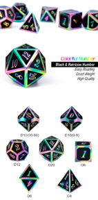 Black Iridescence 7 Piece Metal & Enamel Dice Set - DiceEmporium.com