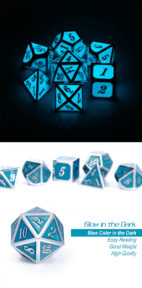 Blue Glow in Dark 7 Piece Metal & Enamel Dice Set - DiceEmporium.com