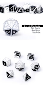 Panda 7 Piece Metal & Enamel Dice Set - DiceEmporium.com