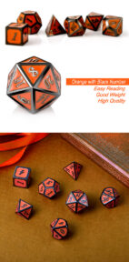 Orange and Gunmetal 7 Piece Metal & Enamel Dice Set - DiceEmporium.com
