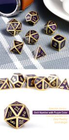 Aurora 7 Piece Metal & Enamel Dice Set - DiceEmporium.com