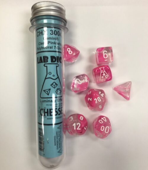 Gemini Clear-Pink/white Lab dice - DiceEmporium.com