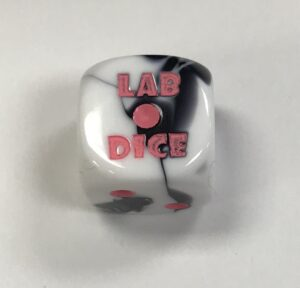Black-White/pink Lab dice - DiceEmporium.com