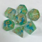 Green Blue Swirl with Glitter 7 Die Set - DiceEmporium.com
